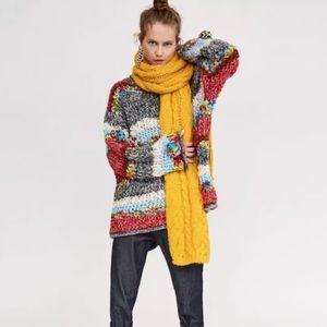 Zara Striped Pom Pom Sweater